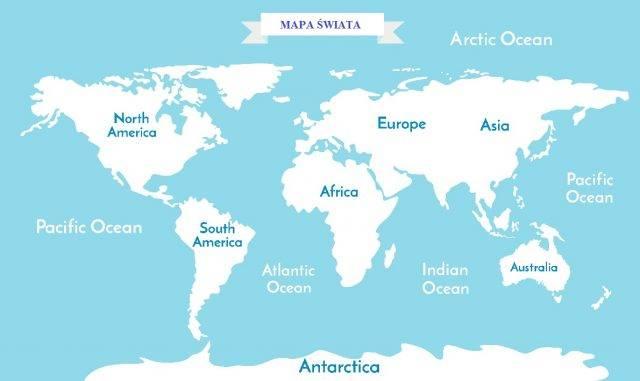 oceany i kontynenty na świecie