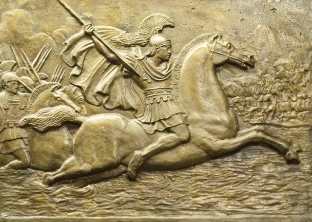 aleksander III macedoński na koniu