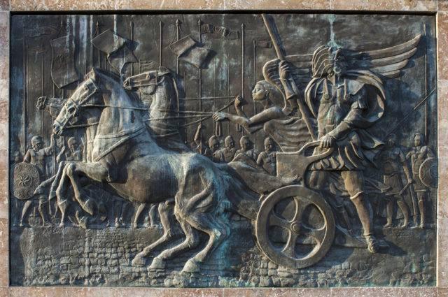 Aleksander III Macedoński jadący rydwanem