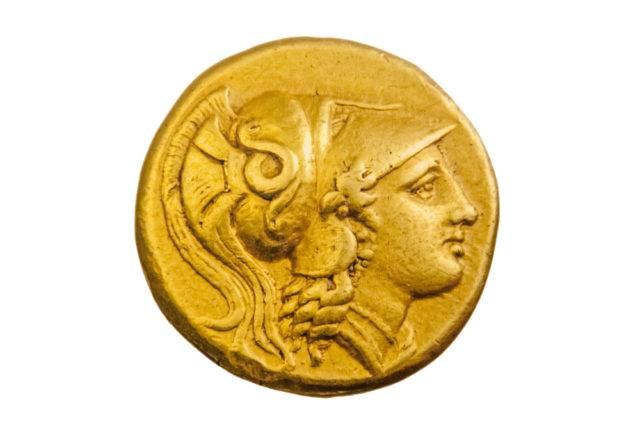 aleksander macedoński na złotej monecie