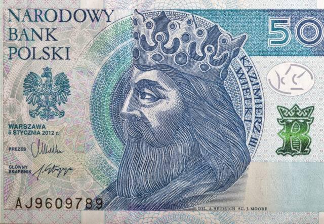 kazimierz wielki na polskim banknocie 50 złotowym