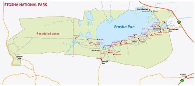 mapa Parku Narodowego Etoszy